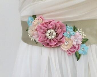 Floral Bridal Sash Wedding Sash in Moss Green,Rose,Ivory  &  Aqua with Swarovski Crystals, Lace And  Pearls, Wedding Dress Sash, Flower Sash