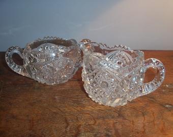 Pair of Cut Glass Serving Pieces Creamer and Sugar Bowl Prescut