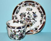 RESERVED FOR K.   Rare Antique 1850's George Frederick Bower Porcelain hand painted teacup and saucer.