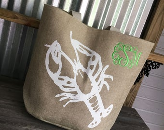 Tote/BeachTote/Large White Lobster Tote with Monogram