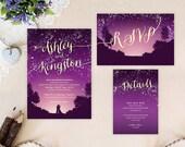 Purple starry night wedding invitations  | Mountain wedding invitations printed | Cheap wedding sets: invitation, RSVP, enclosure card