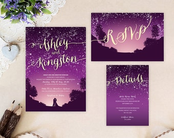 purple starry night wedding invitation bundle mountain wedding invitations printed cheap wedding sets