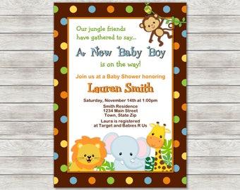 Safari Baby Shower Invitation - Printable File or Printed Invitations