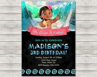 Moana Birthday Invitation, Baby Moana Invite - Printable File or Printed Invitations