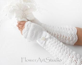 MANY COLORS, Wedding Long Fingerless Gloves, Bridal Arm Warmers, Long Hand Warmers, Long Wedding gloves, Long Bridal Gloves, White, Ivory