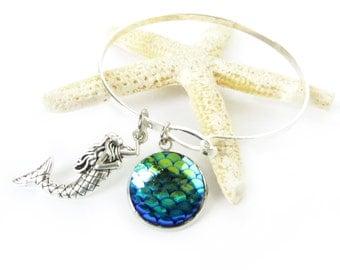 Mermaid Bracelet, Bangle Bracelet, Fish Scale Bracelet, Mermaid Bangle, Beach Jewelry, Silver Bracelet, Valentine Gift, Gift for Her