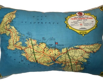 Prince Edward Island Vintage Map Pillow - FREE SHIPPING