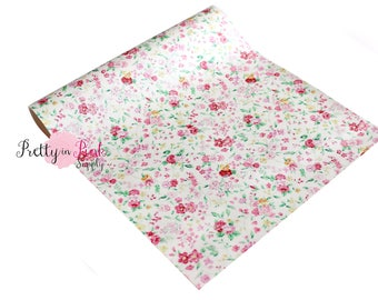 White Floral Pearlized Soft Faux Vinyl Fabric Sheet- Floral Fabric Sheet-A4 or A5 vinyl Fabric Material-DIY Hair Bows 1mm Thick