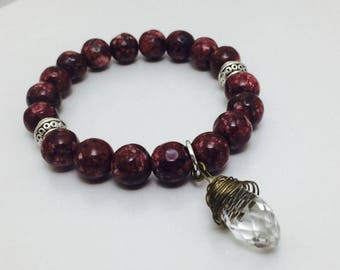 Plum Faceted Jade Tear Drop Bracelet