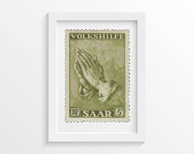Cross Stitch Pattern PDF, Embroidery Chart, Art Cross Stitch, Praying Hands First Issue Stamp by Albrecht Durer (DURER01)