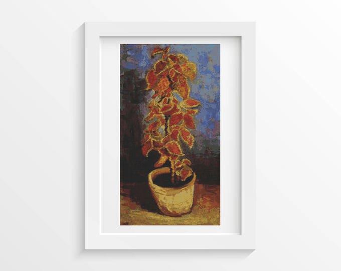 Cross Stitch Pattern PDF, Embroidery Chart, Art Cross Stitch, Floral Cross Stitch, Coleus Plant in a Flowerpot by Vincent van Gogh (VGOGH19)