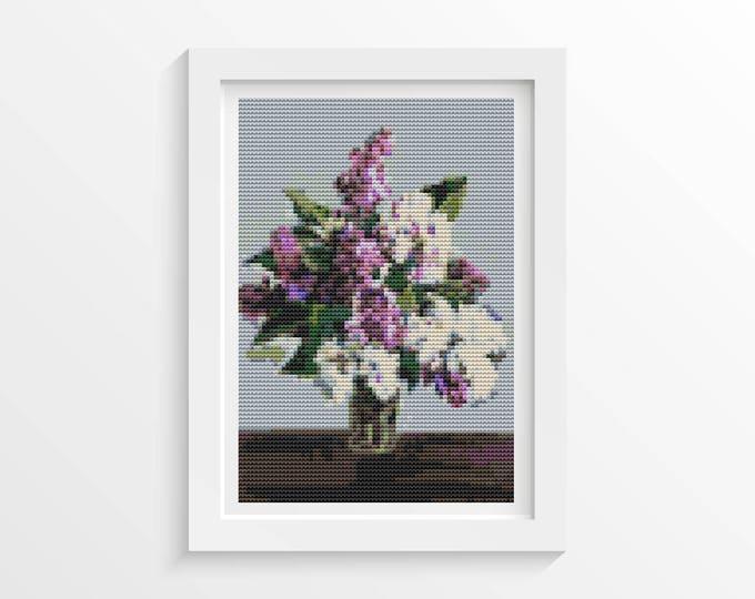 Mini Cross Stitch Kit, Embroidery Kit, Art Cross Stitch, Still Life with Lilacs by Pyotr Konchalovsky (TAS108)
