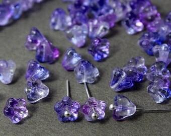 Czech glass Beads Bell Flower Ultraviolet 25 Pcs, Czech Glass Beads, Czech Glass, Czech Bell Flower Beads, Czech Glass Beads, Czech Beads