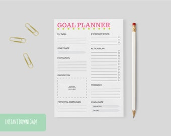 Goal Planner Pink & Green Spots A4 Interactive and Printable Files Included INSTANT DOWNLOAD