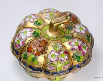 Antique Vintage Chinese Solid Brass Lidded Cloisonne Enameled Jewelry Box Trinket