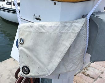 Rustic Crossbody Recycled Sail Bag with original hand sewn grommet