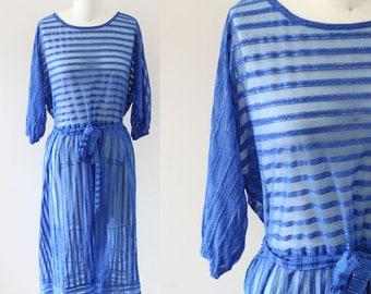 1970s blue striped dress // sheer blue dress // vintage dress