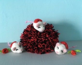 Handmade needlefelted fancy rat valentine brooches, white, red heart, love, gift, pet rat lover