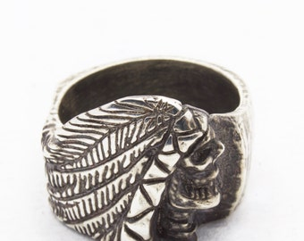 Profile Skull, Headress, Feather Ring | Biker, Simple Band, Low Profile Skull | Made in USA Jewelry - JC233-071