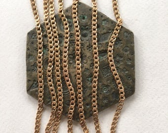 Vintage Textured Curb Chain, Brass Curb Chain, 3mm, 6Ft