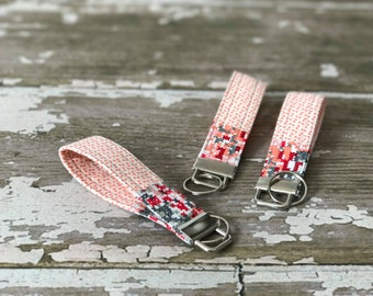Pink Pixilated Key Fob