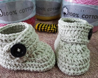 Crochet baby booties made from 100% cotton