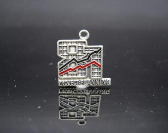 ABWA 87 Project Planning Charm Enamel Sterling Silver American Business Womens Association 1987 925 Vintage