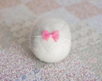 Pink Headband, Valentines Headband, Pink Bow Headband, Lace Bow Tieback, Lace Newborn Headband, Pink Lace Photography Prop