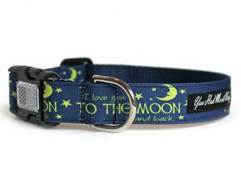 Dog Collar with Moon and Stars, Can be Personalized, Dog Collar for Boy or Girl, Cute, Navy Blue Dog Collar- I Love You to the Moon