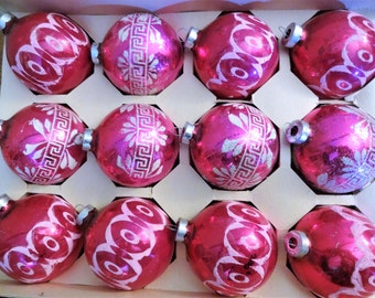 Vintage Flocked Dark Pink/Fuschia  Mercury Glass Ornaments - Box of 12 - Cottage Chic Glass Christmas Ornaments - Made in USA