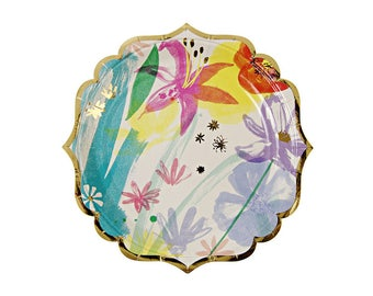 Toot Sweet Painted Flowers Paper Plates, Large, Meri Meri, Party Supplies, Tableware, Easter, Spring, Mother's Day, Party Theme