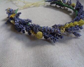 Dried lavender hair crown tie back wedding bridal blue and yellow hair decor wreath floral wedding hair accessories wedding party decor