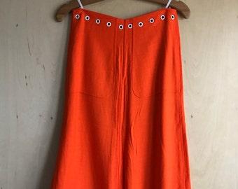60's/70's Courreges Orange Rayon Skirt