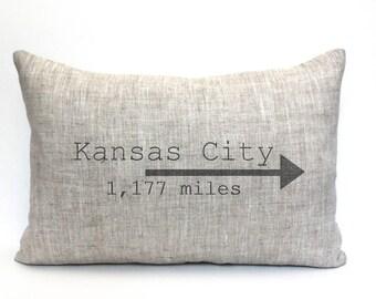 "mothers day gift, city pillow, personalized pillow, housewarming gift, farmhouse decor, christmas gift ""The Kansas City"""