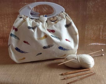 Feather print Knitting bag 534