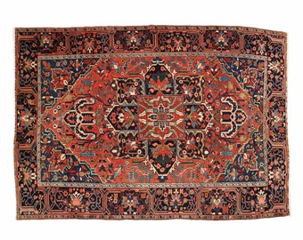 Fine Authentic Semi-Antique Heriz Rug Carpet w/ Serapi colors, 611KUT03Z