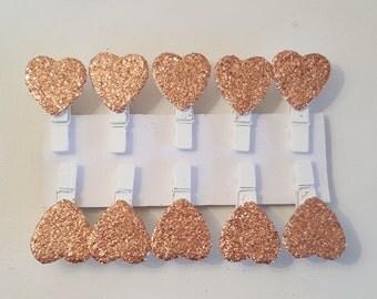 Mini Heart Rose Gold Glitter Wooden Pegs (Packs of 20)