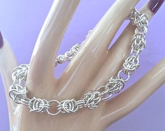 Sterling Silver Byzantine Knot Chainmaille Bracelet