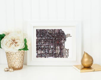 Abstract Map Print of Chicago IL