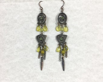 Bohemian Bronze Green Crystal Dangle Earrings