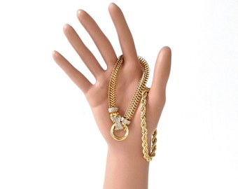 Vintage Chain Bracelets Set of Two Gold Tone Glam Bracelets