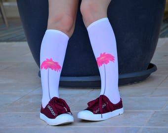 Printed Knee High  Socks with Flowers, Hand Printed Nylon Socks