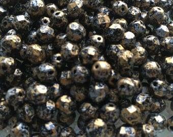Czech Glass Fire Polished Tweedy Gold 6mm Beads x 50