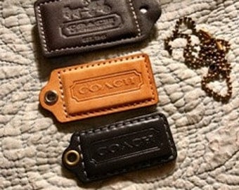 Get all 3 Large Leather Coach Hang Tags with Connector Chains Free Shipp USA