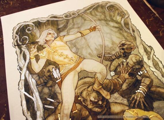 Gilded prints: Battle Under the Trees between Elves & Orcs, illustration