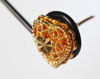 Heart Stud Earrings in 22K Gold