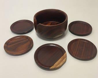 50% OFF Vintage Hand Carved Rosewood Coasters & Holder - Set of 6