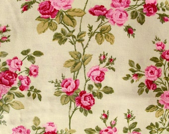 Cotton Rose Print Fabric- Butterfly Kisses by Robyn Pandolph Pink Roses on Light Green- By the Yard