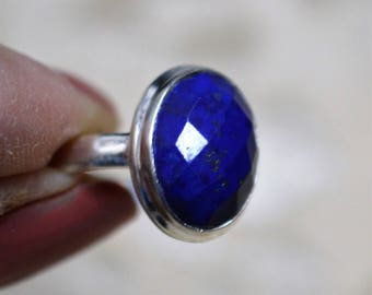 Faceted Lapis Lazuli Sterling Silver Ring Size 9