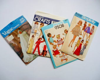 Vintage LOT Doll Clothes Sewing Patterns - Vogue 9176, McCalls 9283, Simplicity 9508 8466